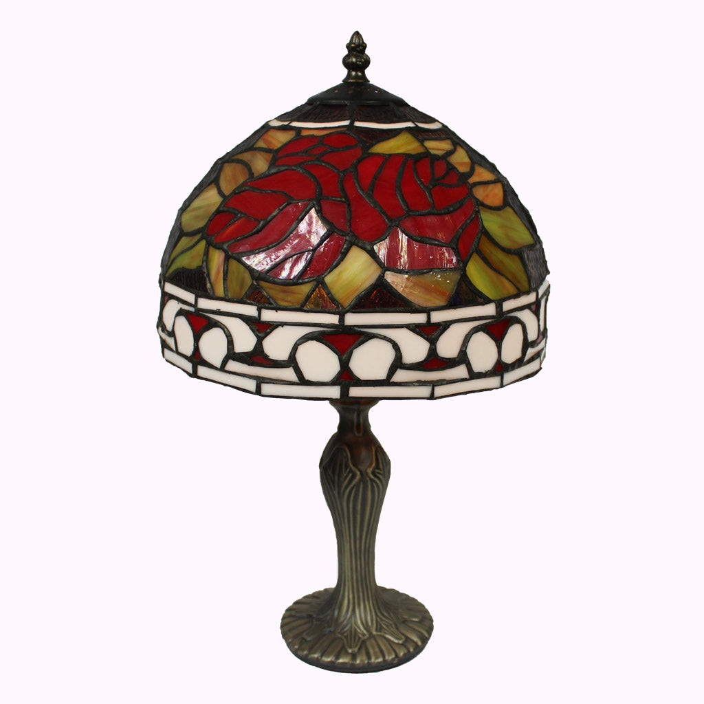 Roses and Scroll Tiffany Table Lamp