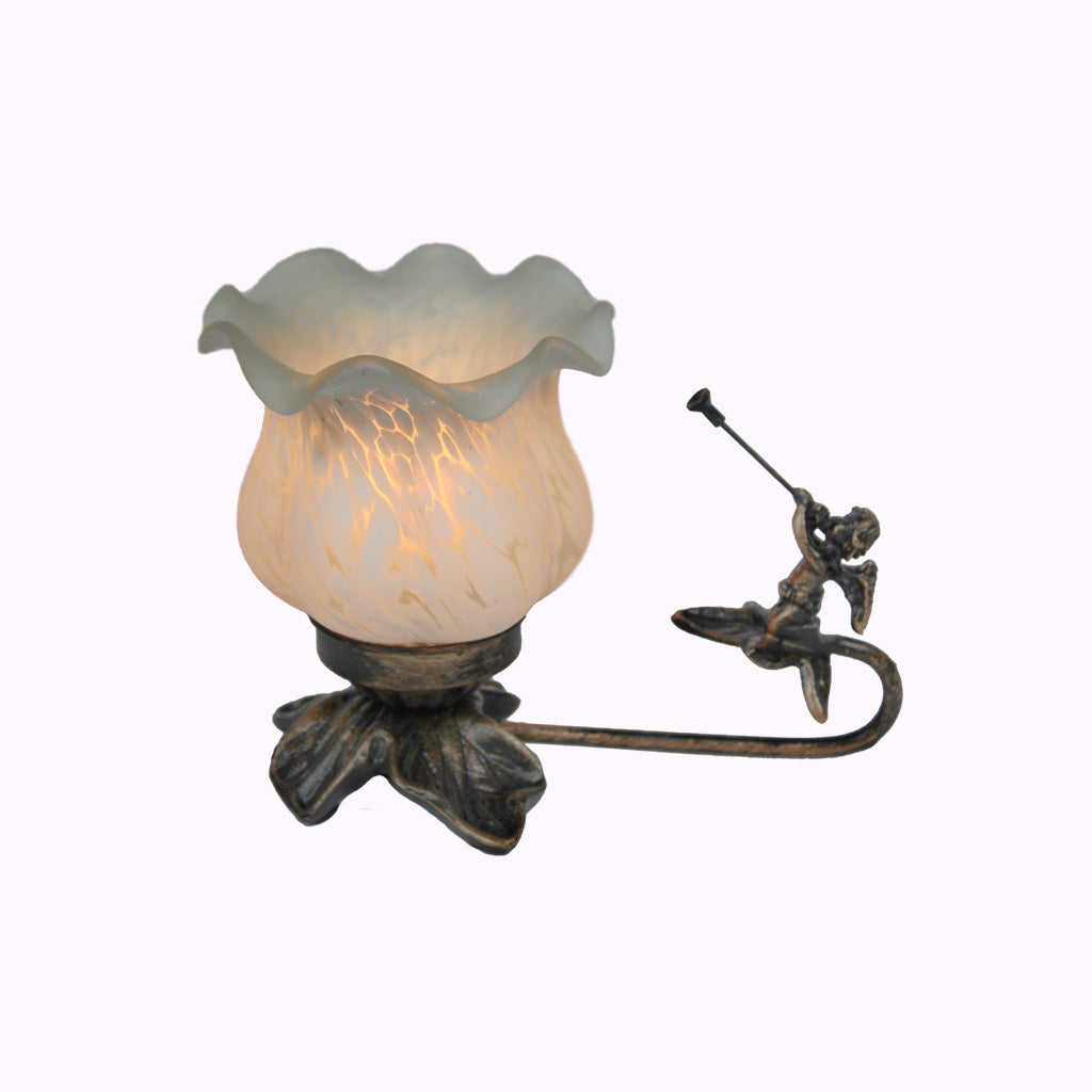 Short Trumpeting Angel Sculptured Bronze Lamp