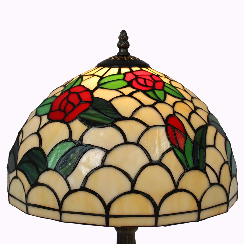 Lovely Red Roses Tiffany Table Lamp