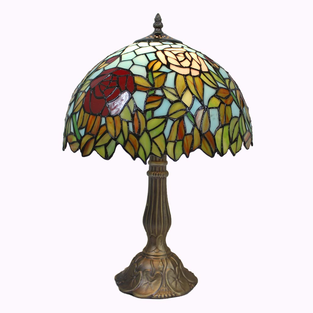 Sky High Roses Tiffany Table Lamp
