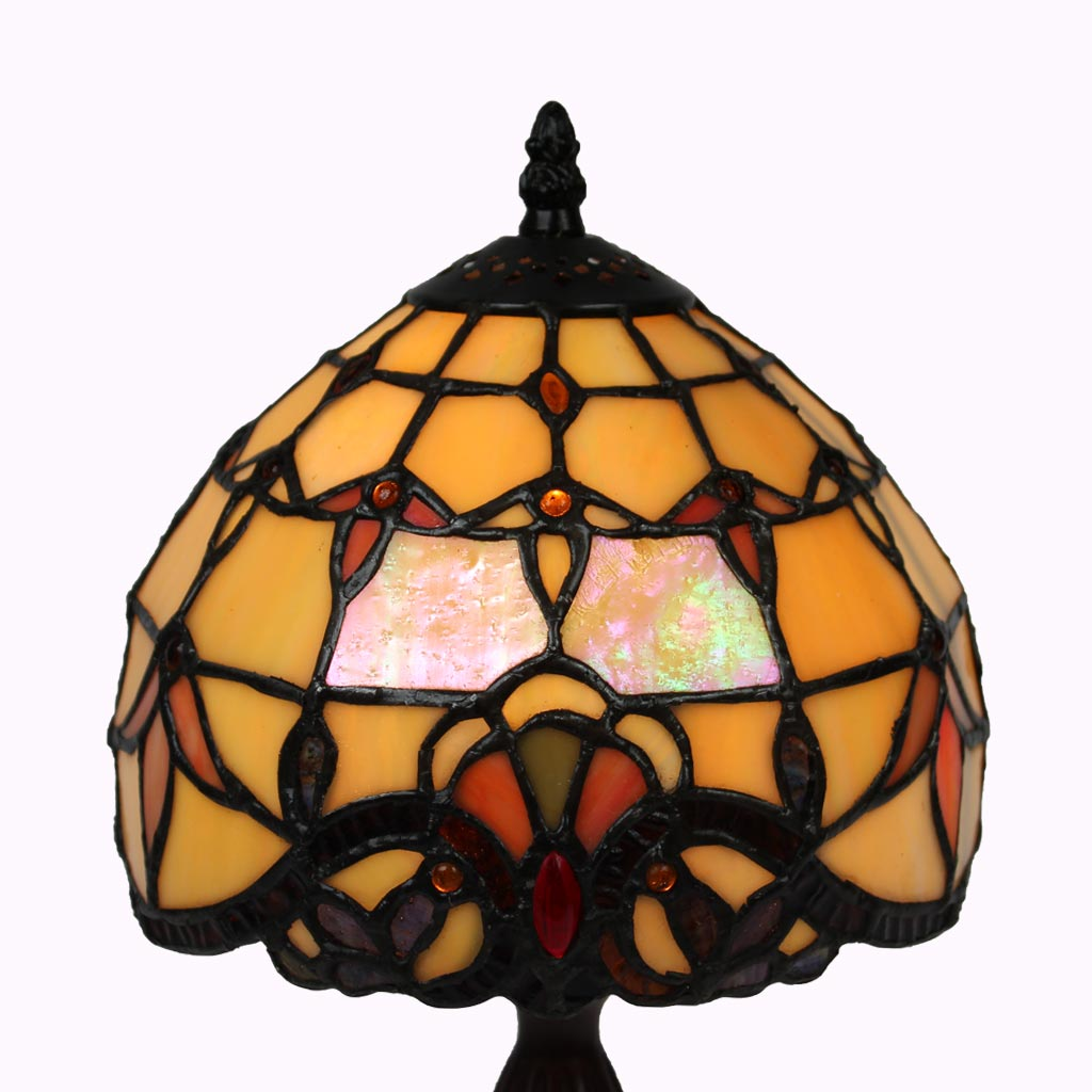 Small Amber Baroque Tiffany Accent Lamp