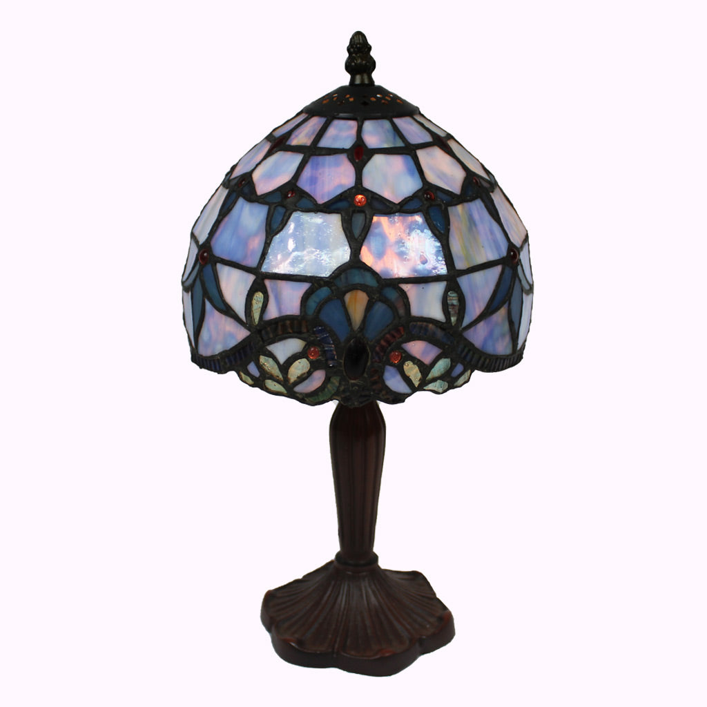 Blue Baroque Tiffany Accent Lamp - Small