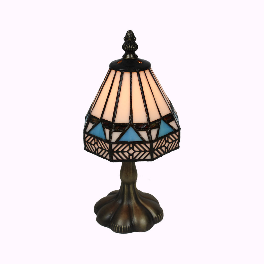 Small Blue Diamond Tiffany Table Lamp from Memory Lane Lamps