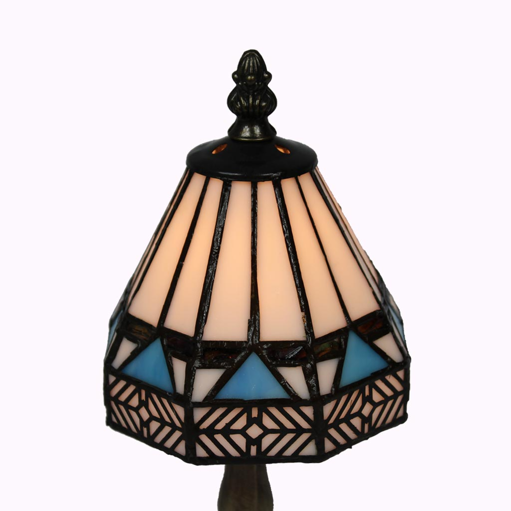 Small Blue Diamond Tiffany Table Lamp