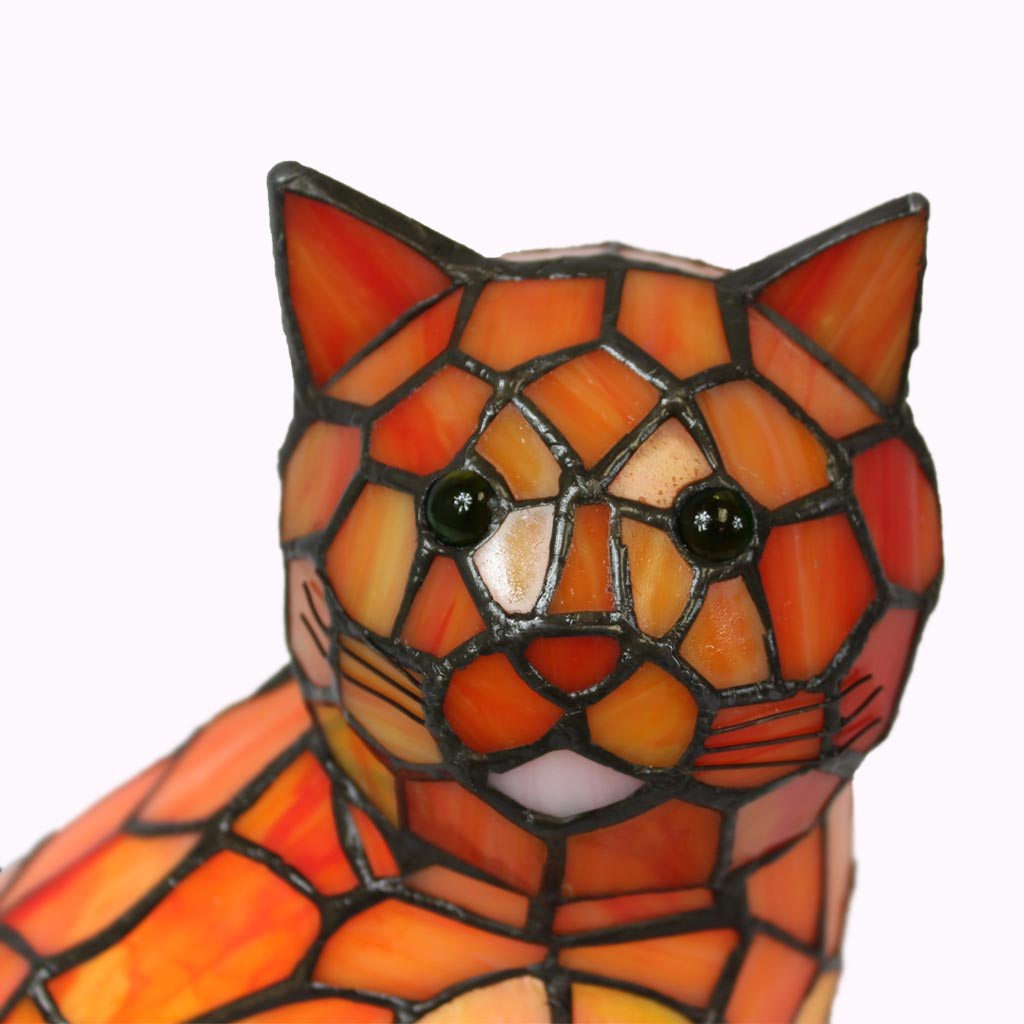 Tabby Cat Tiffany Lamp from Memory Lane Lamps