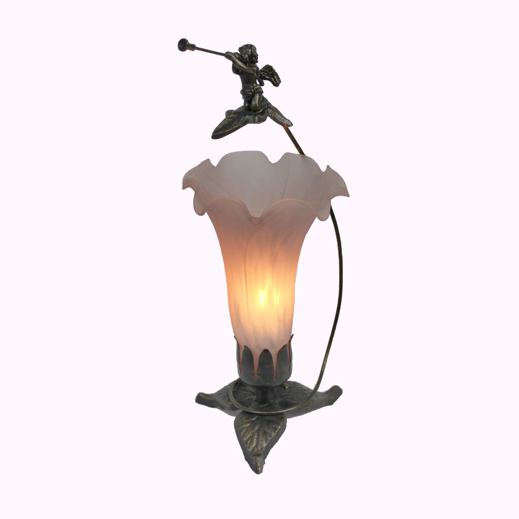 Tall Trumpeting Angel Sculptured Bronze Lamp