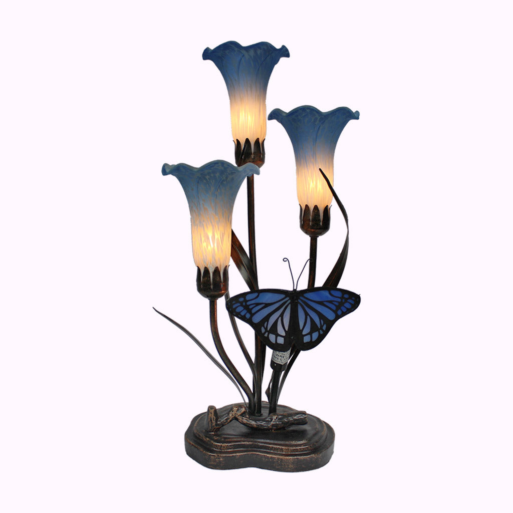 Three-arm Blue Butterfly Sculptured Bronze Lamp