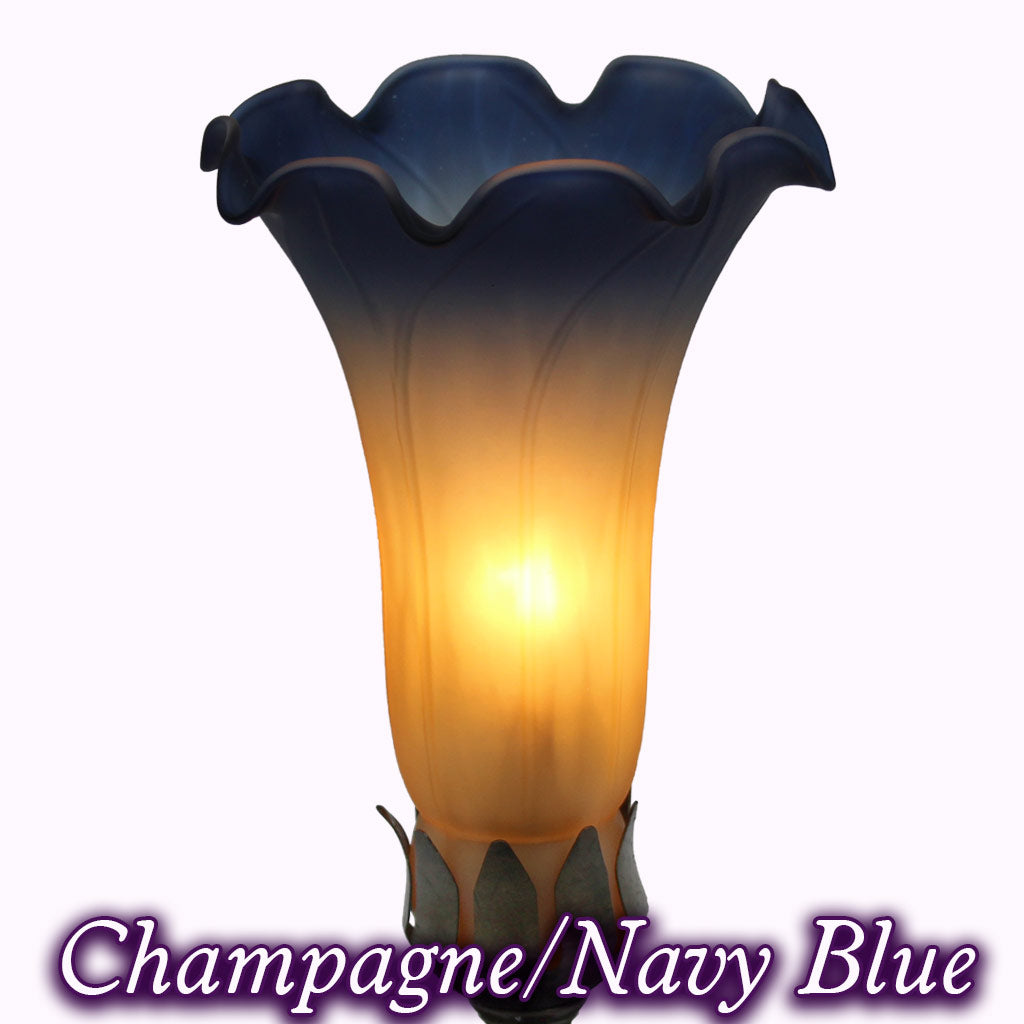 Tall Trumpeting Angel Sculptured Bronze Lamp in champagne and navy