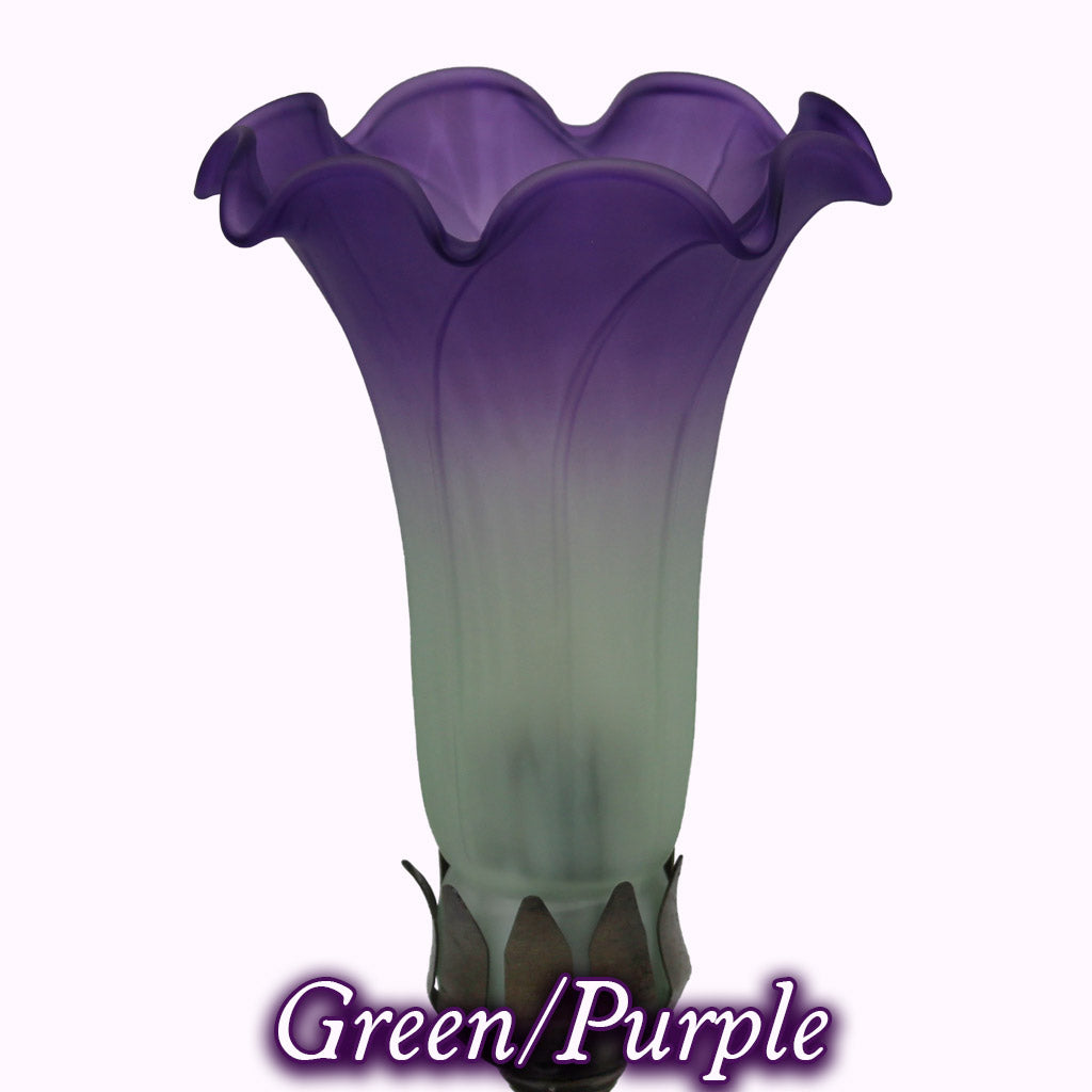 Jeweled Butterfly Sculptured Bronze Lamp in green and purple