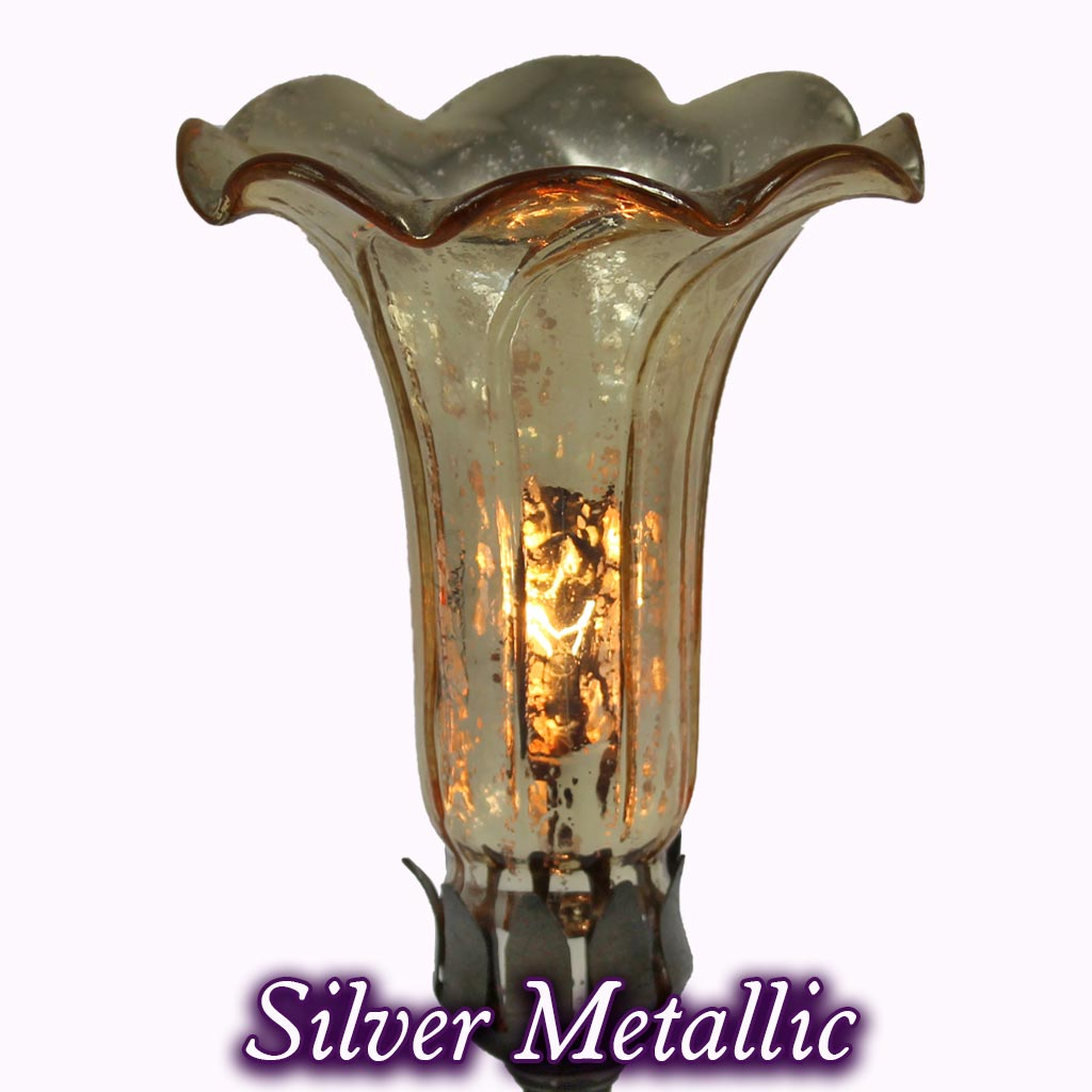 Tall Hummingbird Sculptured Bronze Lamp in silver metalic