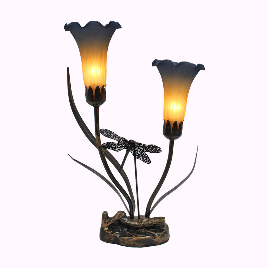 Two-arm Lily with Dragonfly Sculptured Bronze Lamp