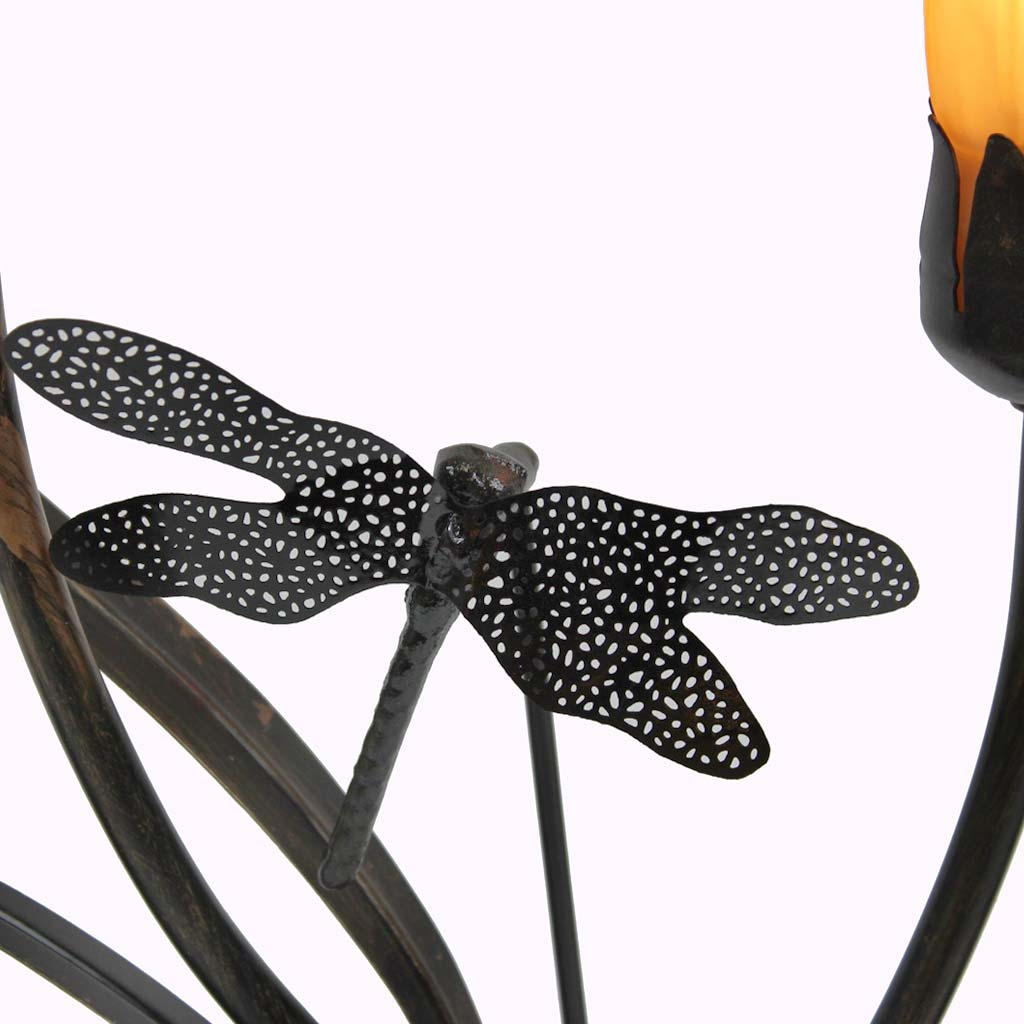 Two-arm Lily with Dragonfly Sculptured Bronze Lamp from Memory Lane Lamps