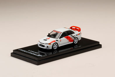 Hobby Japan 1/64 Mitsubishi LANCER GSR Evolution IV (CN9A) Scortia White with RALLY DECAL- HJ641011DW