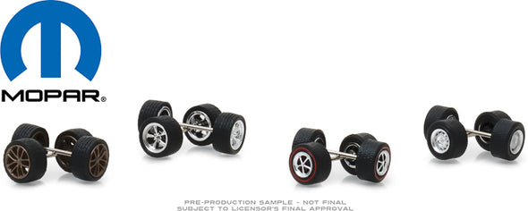 GreenLight 1/64 MOPAR Wheel & Tire Pack - 16 Wheels, 16 Tires, 8 Axles (Hobby Exclusive) - #13168