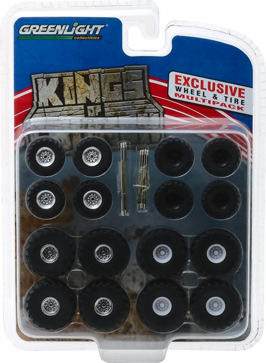 GreenLight 1/64 Kings of Crunch Wheel & Tire Pack - 16 Wheels, 16 Tires, 8 Axles (Hobby Exclusive) #13169