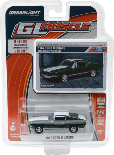 GreenLight 1/64 GreenLight Muscle Series 17 - 1967 Ford Mustang - Green with White Stripes Solid Pack #13170-A