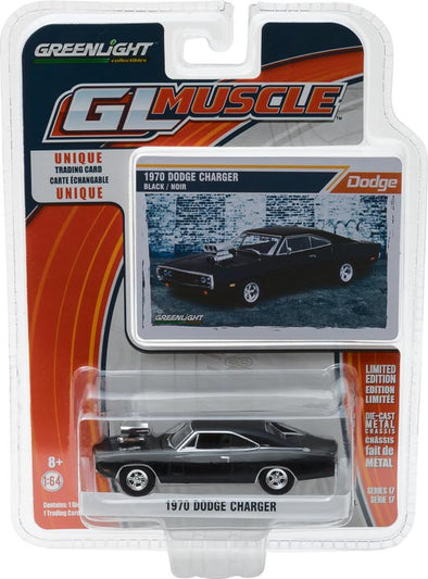 GreenLight 1/64 GreenLight Muscle Series 17 - 1970 Dodge Charger with Blown Engine - Black Solid Pack #13170-B