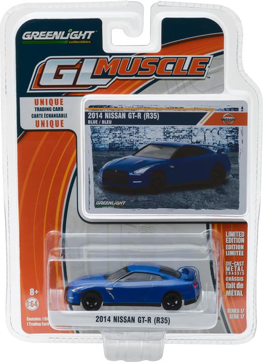 GreenLight 1/64 GreenLight Muscle Series 17 - 2014 Nissan GT-R (R35) - Blue Solid Pack #13170-F