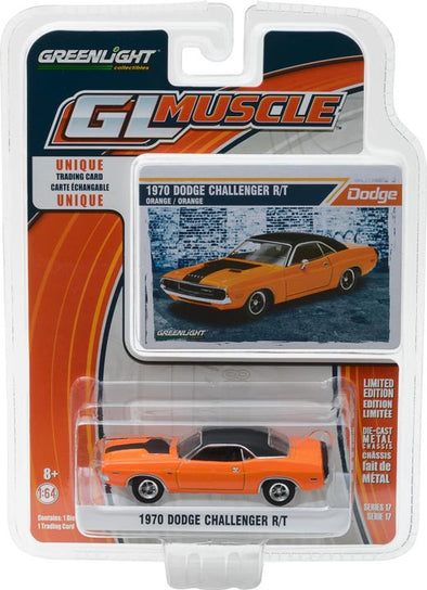 GreenLight 1/64 GreenLight Muscle Series 17 - 1970 Dodge Challenger R/T - Orange with Black Stripe Solid Pack #13170-E