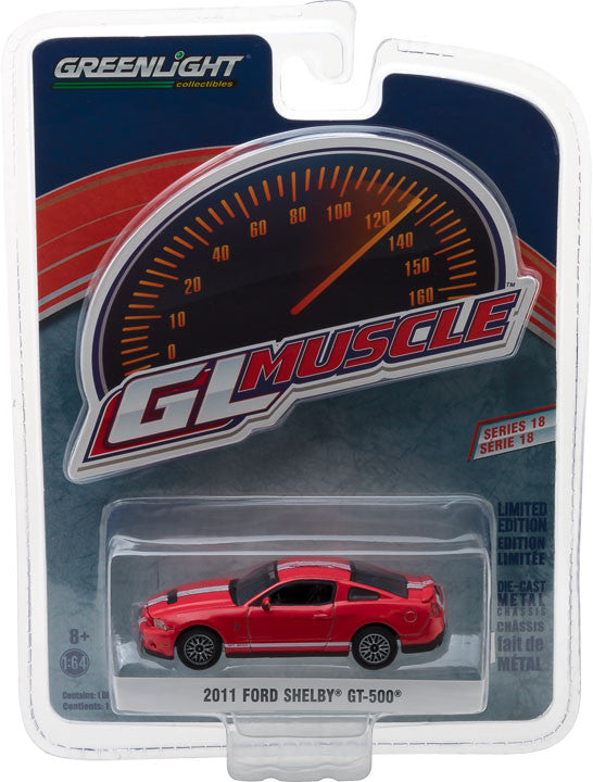 GreenLight 1/64 GreenLight Muscle Series 18 - 2011 Ford Shelby GT-500 with SVT Performance Package - Race Red Solid Pack #13180-D
