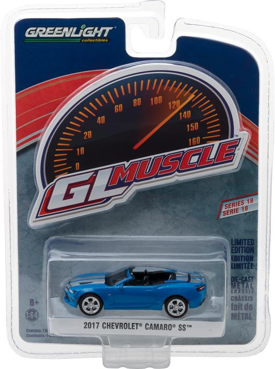 GreenLight 1/64 GreenLight Muscle Series 18 - 2017 Chevrolet Camaro SS Convertible - Hyper Blue with Silver Rally Stripes Solid Pack #13180-F