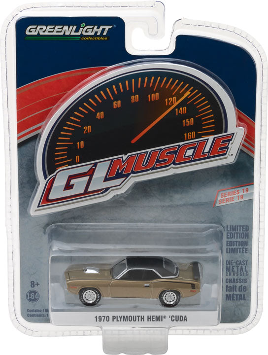 GreenLight 1/64 GreenLight Muscle Series 19 - 1970 Plymouth Hemi 'Cuda - Citron Gold Solid Pack #13190-B