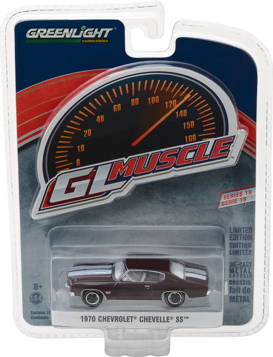 GreenLight 1/64 GreenLight Muscle Series 19 - 1970 Chevrolet Chevelle SS 454 - Black Cherry Solid Pack #13190-C
