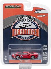 GreenLight 1/64 Ford GT Racing Heritage Series 1 - 2017 Ford GT 1967 #1 Ford GT40 Mk.IV Tribute Solid Pack #13200-D