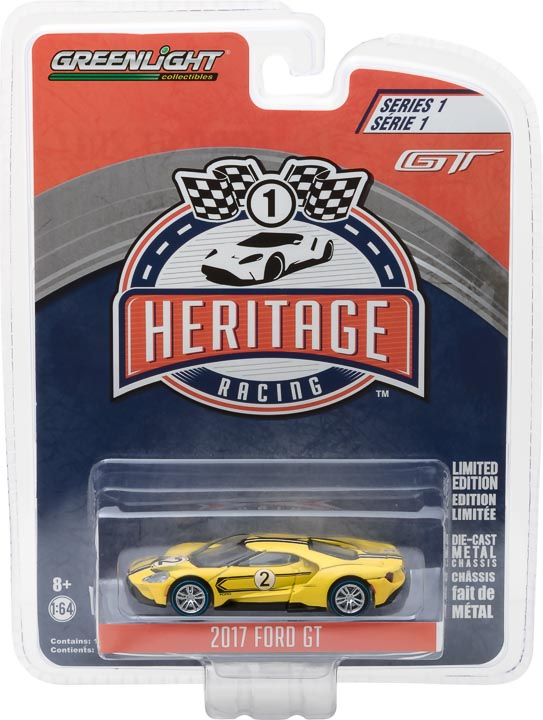 GreenLight 1/64 Ford GT Racing Heritage Series 1 - 2017 Ford GT 1967 #2 Ford GT40 Mk.IV Tribute Solid Pack #13200-E