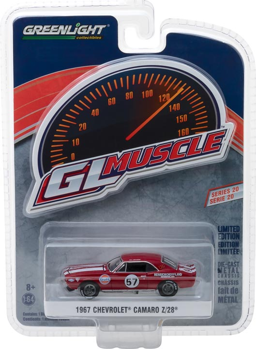 GreenLight 1/64 GreenLight Muscle Series 20 - 1967 Chevrolet Camaro Z/28 #57 Heinrich Chevy-Land Solid Pack #13210-A