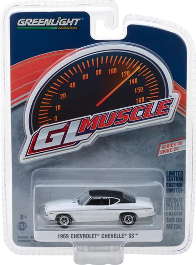 GreenLight 1/64 Muscle Series 20 - 1969 Chevrolet Chevelle SS 396 - Dover White Solid Pack #13210-B
