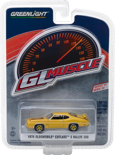 GreenLight 1/64 Muscle Series 20 - 1970 Oldsmobile Cutlass Rallye 350 - Sebring Yellow Solid Pack #13210-C
