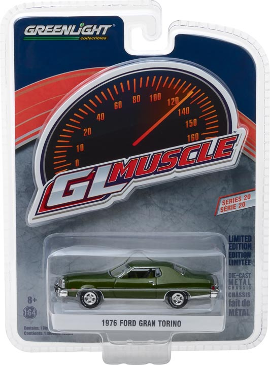 GreenLight 1/64 Muscle Series 20 - 1976 Ford Gran Torino - Dark Green Metallic Solid Pack #13210-D