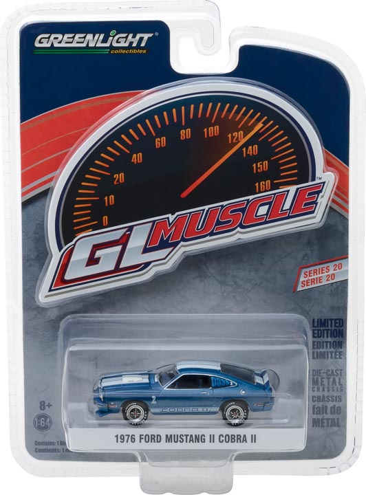 GreenLight 1/64 Muscle Series 20 - 1976 Ford Mustang II Cobra II - Blue with White Stripes Solid Pack #13210-E