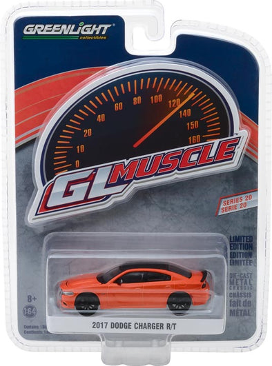 GreenLight 1/64 Muscle Series 20 - 2017 Dodge Charger R/T - Go Mango Solid Pack #13210-F