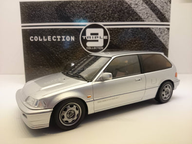 Triple 9 1/18 1987 Honda Civic Si EF3 - Silver - Made by IXO Premium X - T9-1800101
