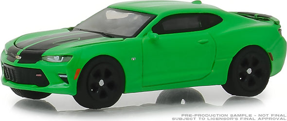 GreenLight 1/64 GreenLight Muscle Series 21 - 2017 Chevrolet Camaro SS - Krypton Green with Black Rally Stripes Solid Pack #13230-E