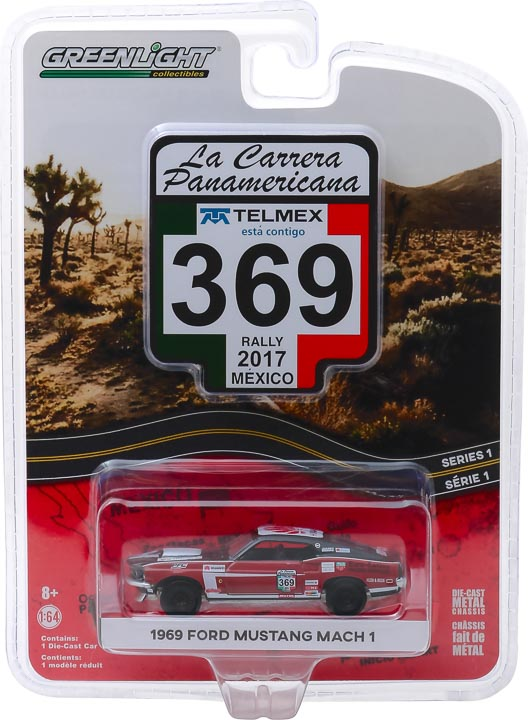 GreenLight 1/64 La Carrera Panamericana 1 - 369 1969 Ford Mustang Mach 1 Solid Pack #13240-D