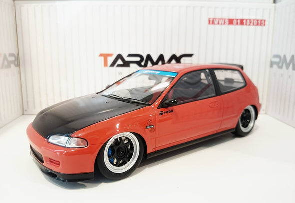 Tarmac Works 1/18 Honda Civic EG6 tuned by Spoon - Red with black bonnet - T01-RE