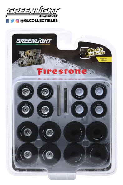 GreenLight 1/64 Wheel Tire Packs 1 - Kings of Crunch Firestone  #16010-A