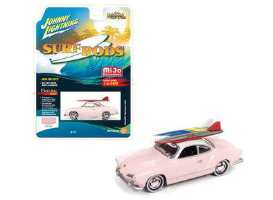 Johnny Lightning 1/64 1964 Volkswagen Karmann Ghia, light pink