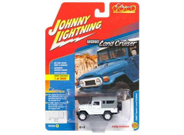 Johnny Lightning 1/64 1980 Toyota Land Cruiser, white with grey top
