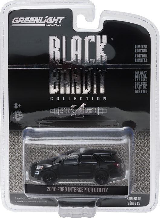 GreenLight 1/64 Black Bandit Series 15 - 2016 Ford Interceptor Utility Black Bandit Police Solid Pack - #27860-E