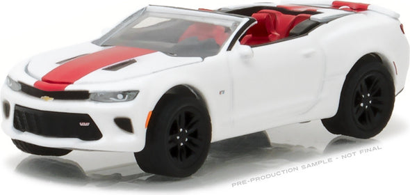 GreenLight 1/64 General Motors Collection Series 2 - 2017 Chevrolet Camaro SS Convertible - Summit White with Red Center Stripe Solid Pack - #27875-F