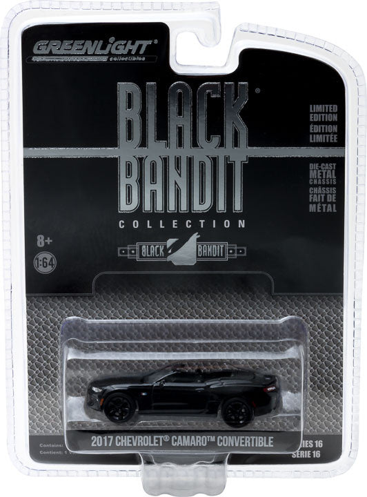 GreenLight 1/64 Black Bandit Series 16 - 2017 Chevrolet Camaro Convertible Solid Pack - #27880-F
