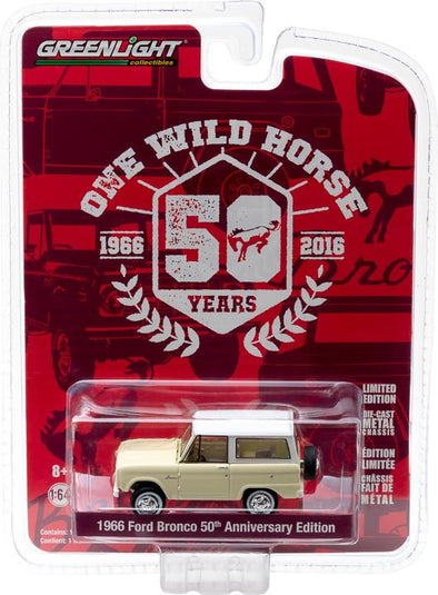 GreenLight 1/64 Anniversary Collection Series 4 - 1966 Ford Bronco 50 Years Solid Pack - #27890-B