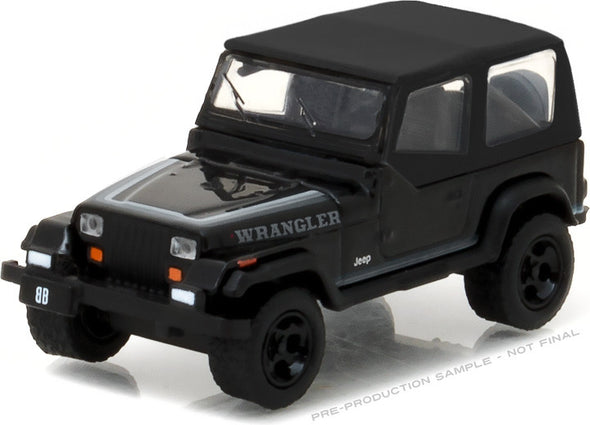 GreenLight 1/64 Black Bandit Series 17 - 1989 Jeep Wrangler Soft Top Solid Pack - #27910-D