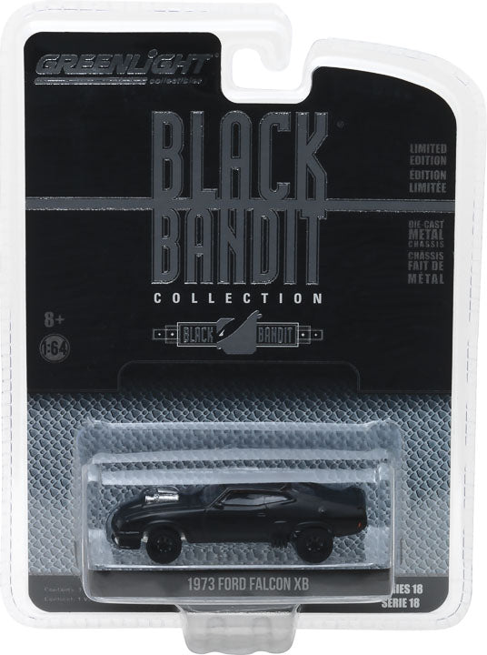 GreenLight 1/64 Black Bandit Series 18 - 1973 Ford Falcon XB (Flat Black) Solid Pack - #27930-A