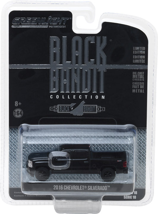 GreenLight 1/64 Black Bandit Series 18 - 2016 Chevrolet Silverado Solid Pack - #27930-E