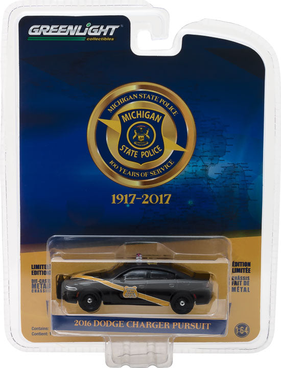 GreenLight 1/64 Anniversary Collection Series 6 - 2016 Dodge Charger Police Michigan State Police 100th Anniversary Patrol Car Solid Pack  - #27940-E